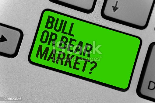 Conceptual hand writing showing Bull Or Bear Market question. Business photo showcasing asking someone about his marketing method Computer program keyboard typing office work input device