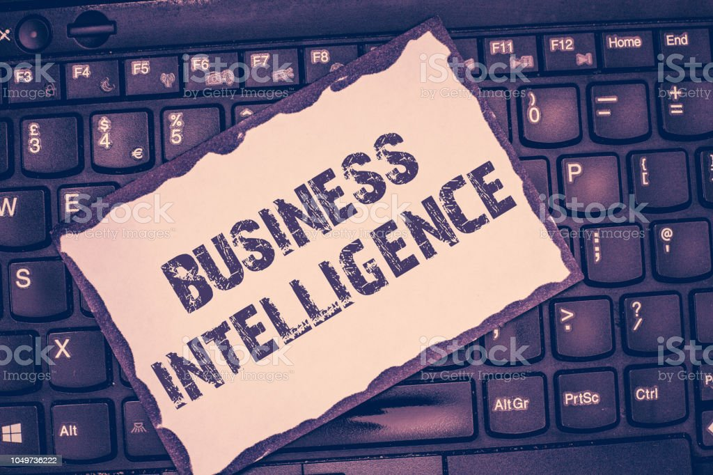 Conceptual hand writing showing Business Intelligence. Business photo showcasing Best Practice of Information to Optimize Perforanalysisce stock photo