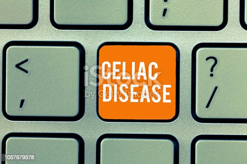 istock Conceptual hand writing showing Celiac Disease. Business photo text Small intestine is hypersensitive to gluten Digestion problem 1057679378