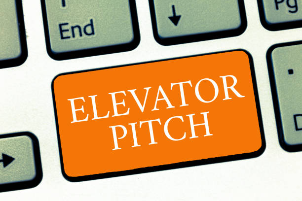 Conceptual hand writing showing Elevator Pitch. Business photo text A persuasive sales pitch Brief speech about the product stock photo