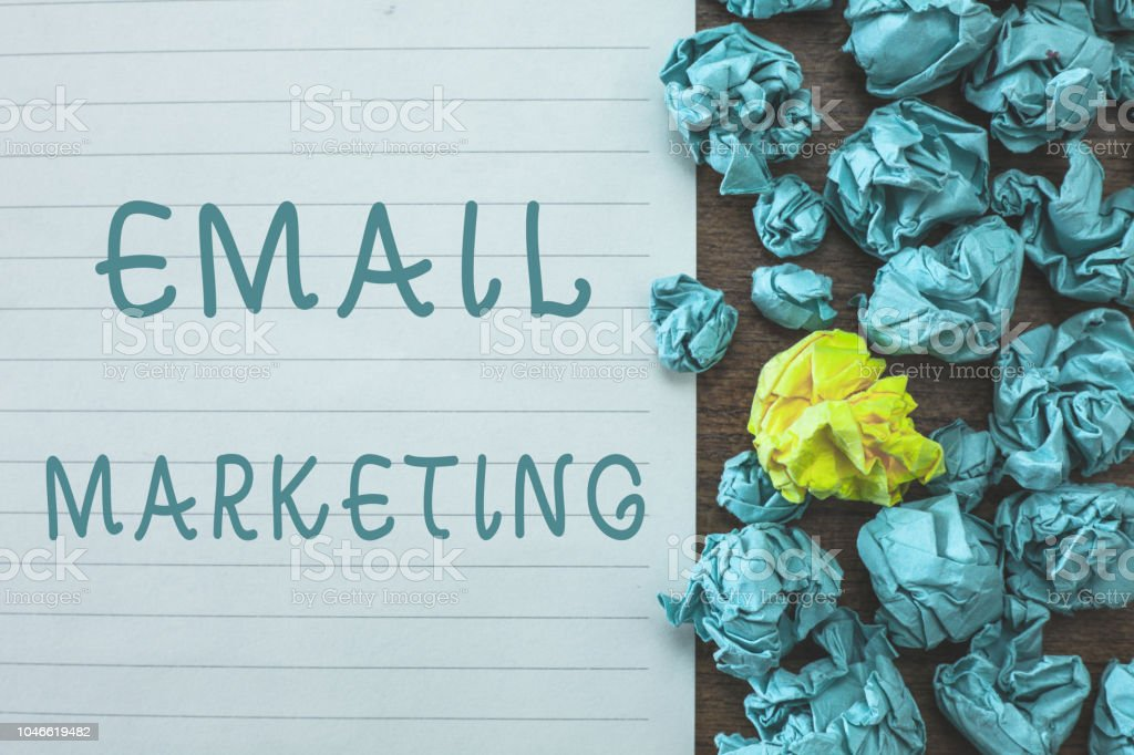 Conceptual hand writing showing Email Marketing. Business photo text Sending a commercial message to a group of people using mail stock photo