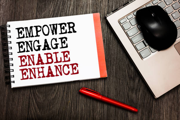 conceptual hand writing showing empower engage enable enhance. business photo showcasing empowerment leadership motivation engagement bluetooth mouse on keyboard words red pen on wooden deck. - employee engagement stock photos and pictures