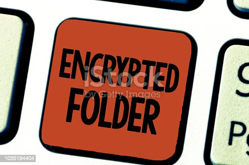 istock Conceptual hand writing showing Encrypted Folder. Business photo showcasing protect confidential data from attackers with access 1035194404