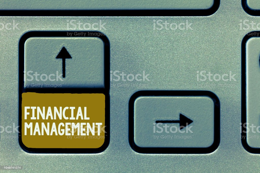 Conceptual hand writing showing Financial Management. Business photo showcasing efficient and effective way to Manage Money and Funds stock photo