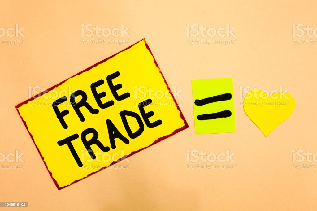 Conceptual hand writing showing Free Trade. Business photo text The ability to buy and sell on your own terms and means Yellow paper reminder equal sign heart sending romantic feelings. stock photo