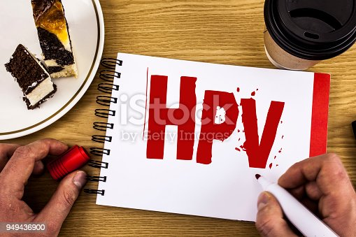 istock Conceptual hand writing showing Hpv. Business photo showcasing Human Papillomavirus Infection Sexually Transmitted Disease Illness written by Man on Notebook on wooden background Cake and Cup. 949436900