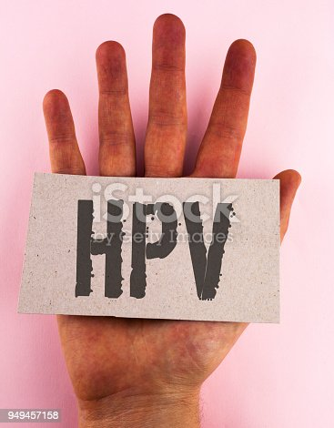 istock Conceptual hand writing showing Hpv. Business photo text Human Papillomavirus Infection Sexually Transmitted Disease Illness written on Cardboard Piece placed on the Hand on plain background. 949457158