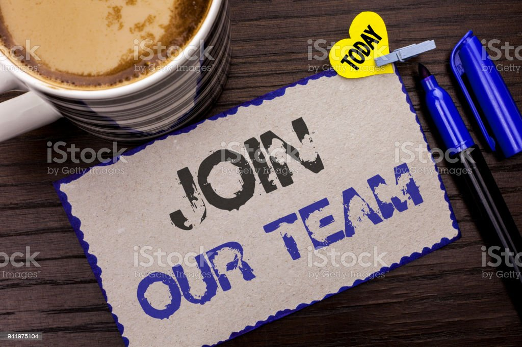 Conceptual hand writing showing Join Our Team. Business photo showcasing Be a Part of our Teamwork Workforce Wanted Recruitment written on Sticky Note wooden background Today Coffee Marker. stock photo
