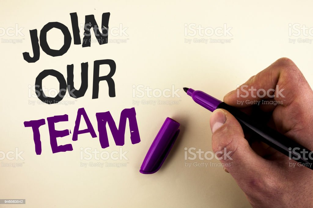 Conceptual hand writing showing Join Our Team. Business photo showcasing Get over unemployment joining better career workforce written by Man on plain background holding Marker in Hand. stock photo