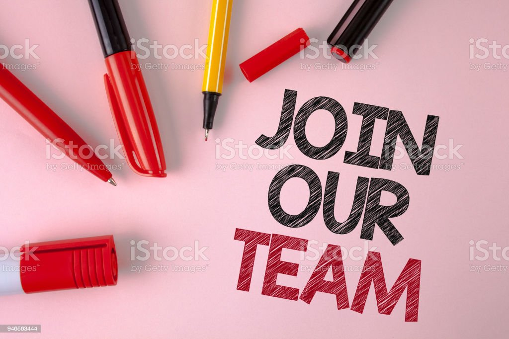 Conceptual hand writing showing Join Our Team. Business photo text Get over unemployment joining better career workforce written on plain Pink background Pens and Marker next to it. stock photo