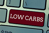 istock Conceptual hand writing showing Low Carbs. Business photo showcasing Restrict carbohydrate consumption Weight loss analysisagement diet 1056065950