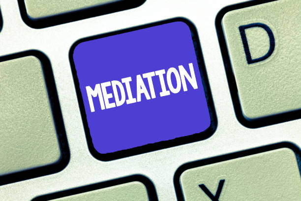 Conceptual hand writing showing Mediation. Business photo showcasing intervention dispute in order to resolve it Arbitration Relaxation stock photo