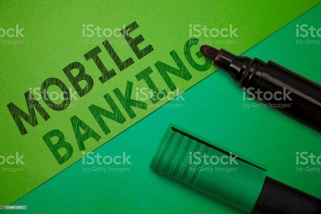 Conceptual hand writing showing Mobile Banking. Business photo...