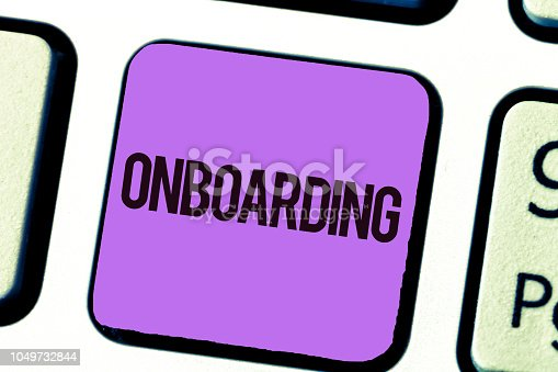 istock Conceptual hand writing showing Onboarding. Business photo showcasing Action Process of integrating a new employee into an organization 1049732844