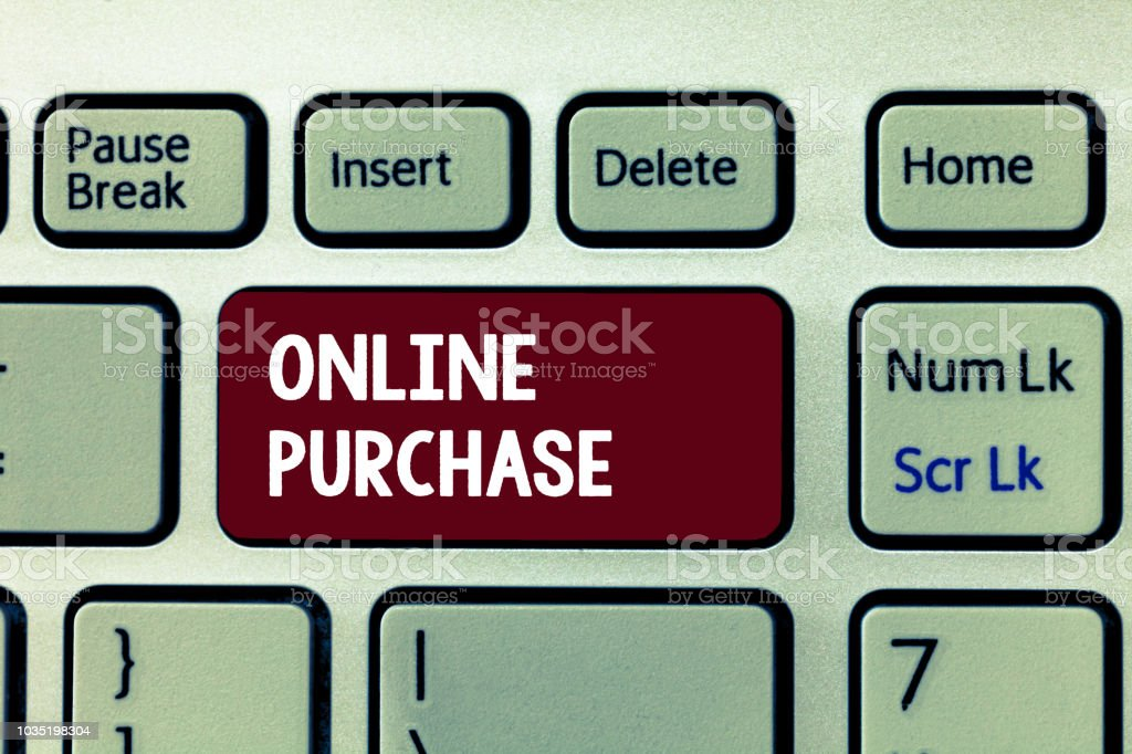 Conceptual hand writing showing Online Purchase. Business photo showcasing Purchases electronic commerce goods from over the Internet stock photo
