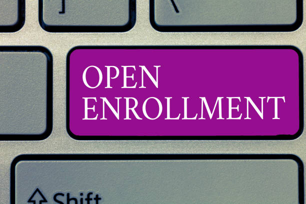 conceptual hand writing showing open enrollment. business photo text the yearly period when people can enroll an insurance - open enrollment stock photos and pictures