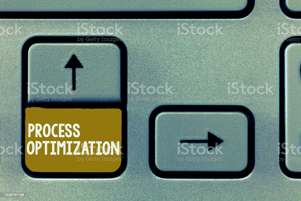 Conceptual hand writing showing Process Optimization. Business photo showcasing Improve Organizations Efficiency Maximize Throughput stock photo