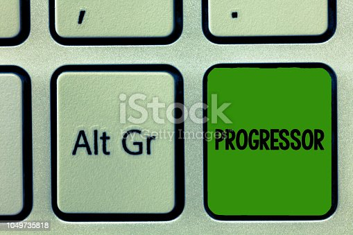 istock Conceptual hand writing showing Progressor. Business photo showcasing Person who makes progress or facilitates it in others Motivation 1049735818