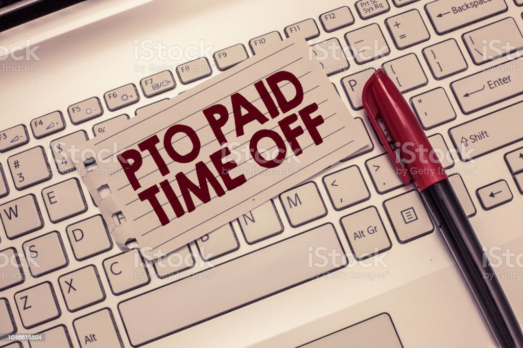 Conceptual hand writing showing Pto Paid Time Off. Business photo showcasing Employer grants compensation for personal leave holidays stock photo