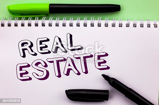 istock Conceptual hand writing showing Real Estate. Business photo showcasing Residential Property Building Covered Land Chattels Real written on Notebook Book on the Plain background Marker Pen 944393828
