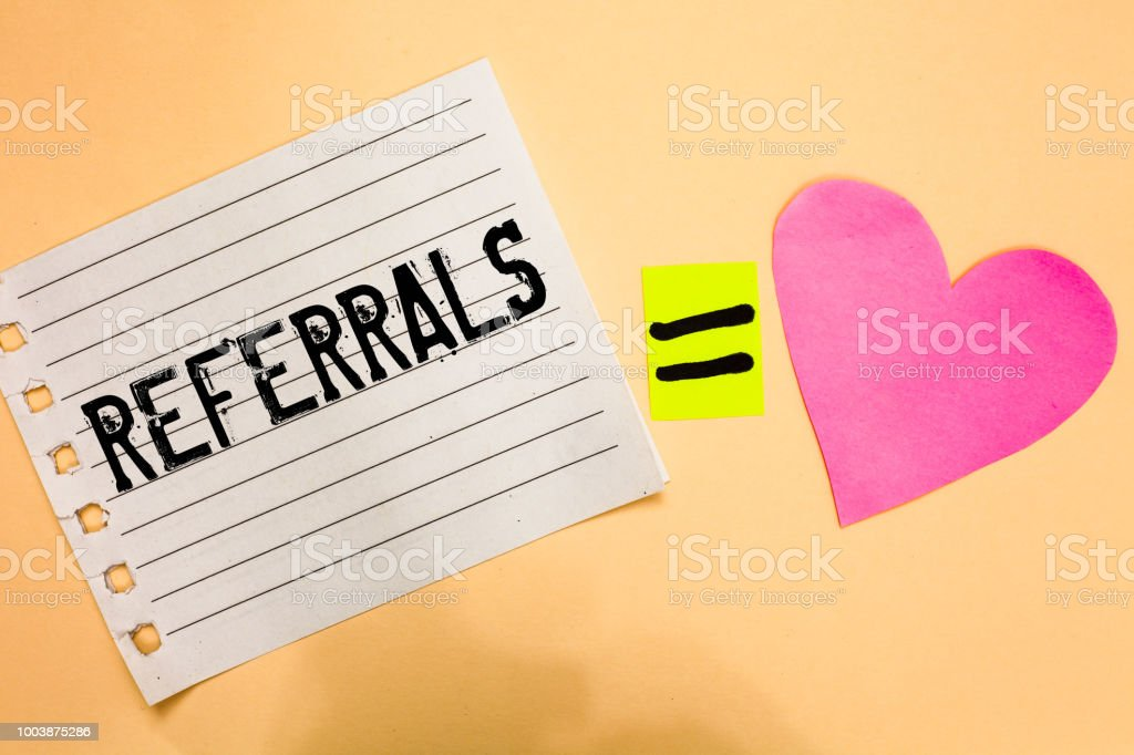 Conceptual hand writing showing Referrals. Business photo showcasing Act of referring someone or something for consultation review Love equation memory thought orange heart lovely art papers. stock photo