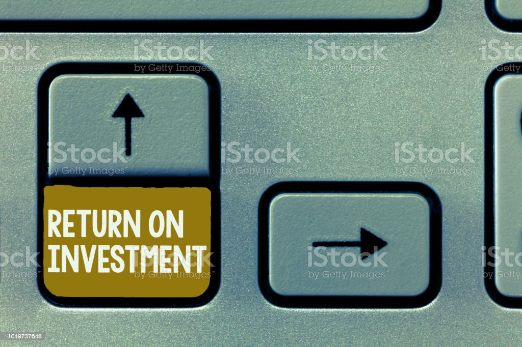 Conceptual hand writing showing Return On Investment. Business photo showcasing Ratio between the Net Profit and Cost invested stock photo