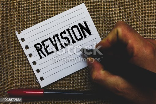 istock Conceptual hand writing showing Revision. Business photo showcasing Rechecking Before Proceeding Self Improvement Preparation Marker pen inspiration nice ideas small pitch art paper mat. 1003872634