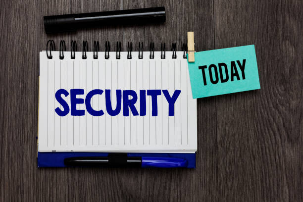 Conceptual hand writing showing Security. Business photo text The state of feeling safe stable and free from fear or danger Ideas notebook wooden table markers for today important reminder. stock photo