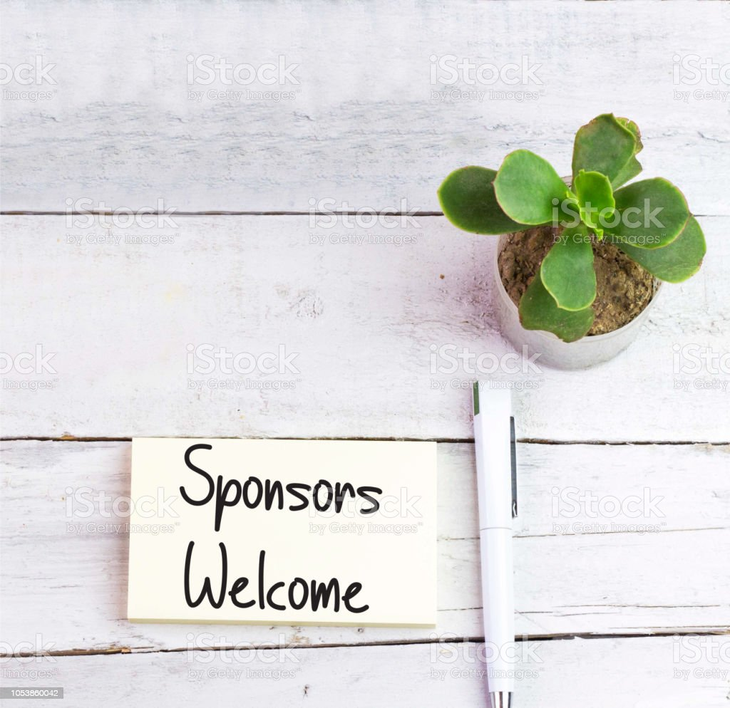 Conceptual hand writing showing Sponsors Welcome stock photo