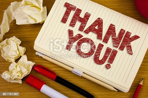 1068057218 istock photo Conceptual hand writing showing Thank You Motivational Call. Business photo showcasing Appreciation greeting Acknowledgment Gratitude written on Notebook Book on the wooden background Pen Pencil. 951761362