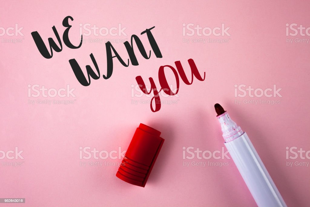 Conceptual hand writing showing We Want You. Business photo showcasing Employee Help Wanted Workers Recruitment Headhunting Employment written on Plain Pink background Marker next to it. stock photo