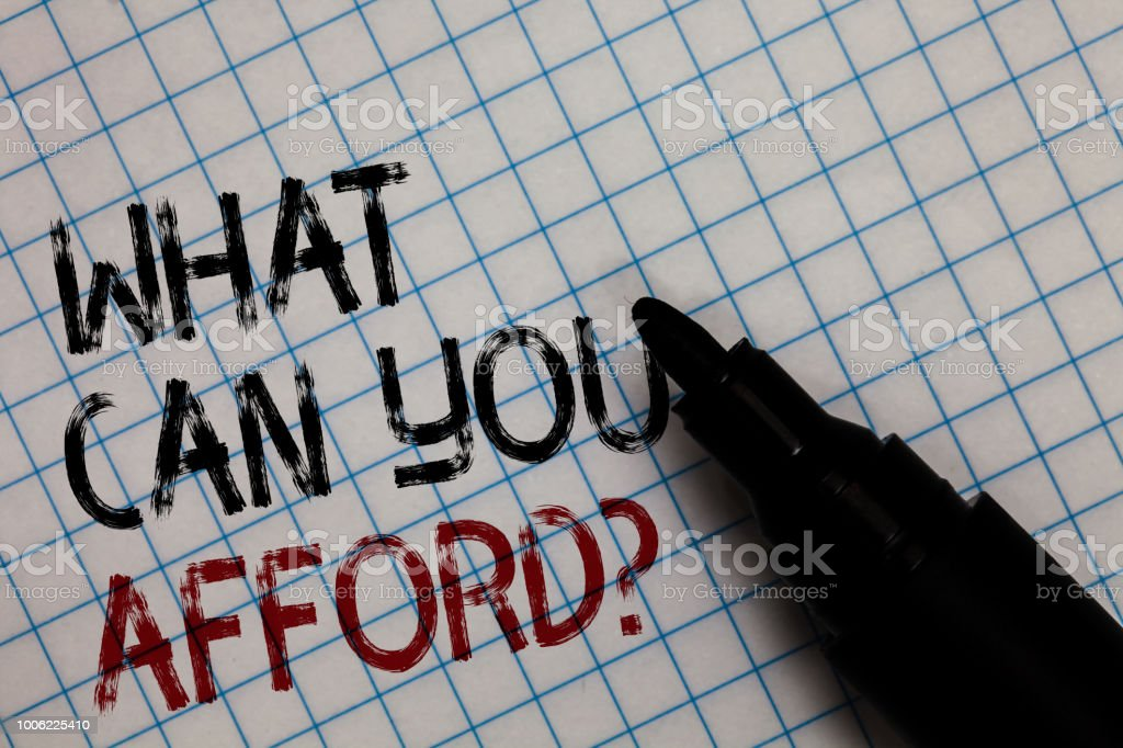 Conceptual hand writing showing What Can You Afford question. Business photo text Give us your budget availability of money Black marker square marked white page written black and red texts. stock photo