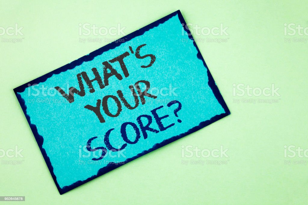 Conceptual hand writing showing What Is Your Score Question. Business photo text Tell Personal Individual Rating Average Results written on Sticky Note Paper on plain background. stock photo