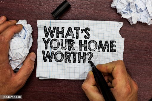 Conceptual hand writing showing What s is Your Home Worth question. Business photo text Value of a house Property Cost Price Rate Hand hold pen sketch word on torn page woody deck hand paper ball