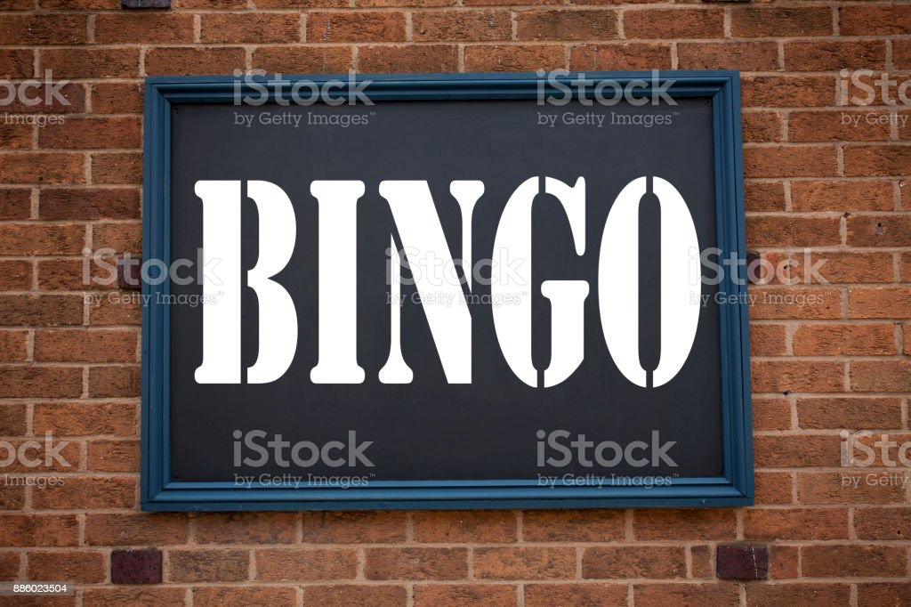 Conceptual hand writing text caption inspiration showing announcement Bingo. Business concept for Lettering Gambling to Win Price Success written on frame old brick background with copy space stock photo