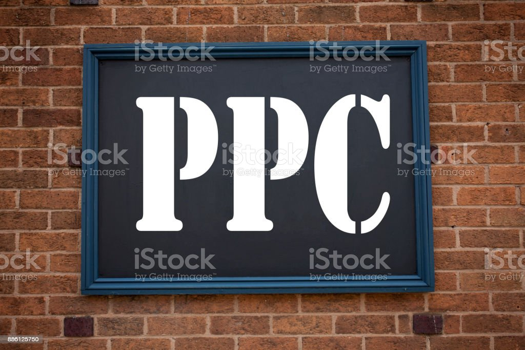 Conceptual hand writing text caption inspiration showing announcement PPC - Pay per Click. Business concept for Internet SEO Money written on frame old brick background with copy space stock photo