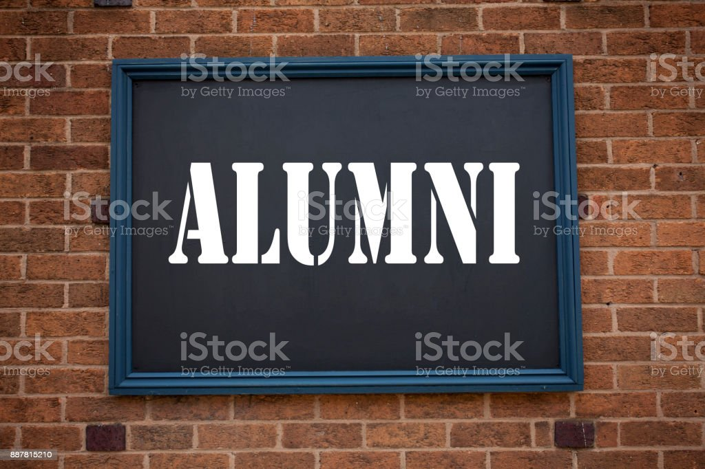 Conceptual hand writing text caption inspiration showing announcement Alumni Former Students. Business concept for  Celebration Education Ending written on frame old brick background with copy space stock photo