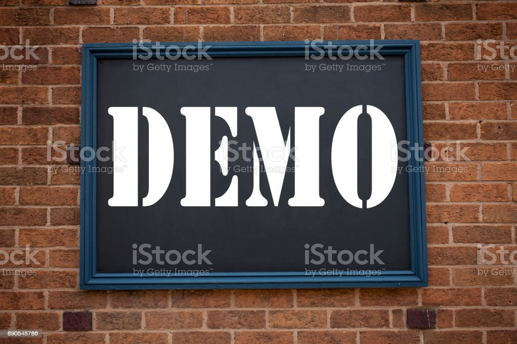 Conceptual hand writing text caption inspiration showing announcement Demo. Business concept for  Software Demonstration written on frame old brick background with copy space stock photo
