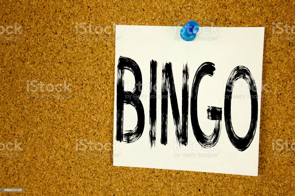 Conceptual hand writing text caption inspiration showing Bingo. Business concept for Lettering Gambling to Win Price Success written on sticky note, reminder cork background with copy space stock photo
