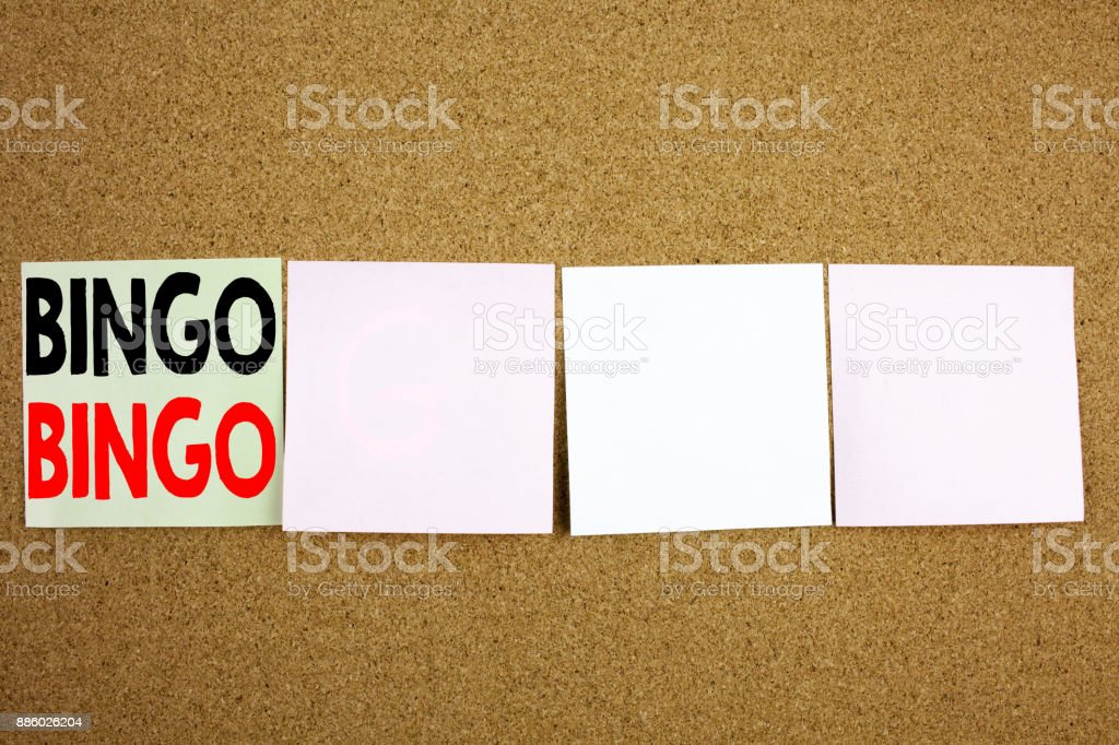 Conceptual hand writing text caption inspiration showing Bingo Business concept for Lettering Gambling to Win Price Success on the colourful Sticky Note close-up background with copy space stock photo