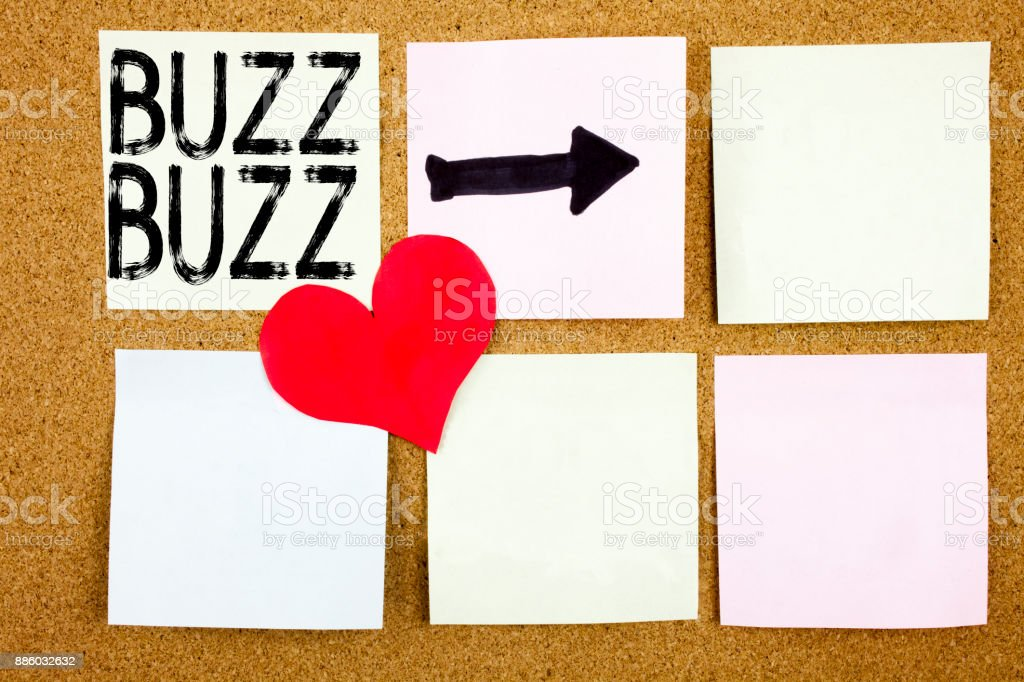 Conceptual hand writing text caption inspiration showing Buzz concept for Buzz Word llustration and Love written on wooden background, reminder background with copy space stock photo