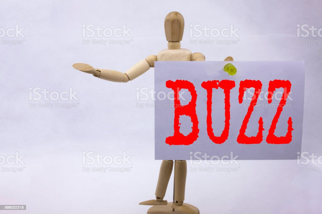 Conceptual hand writing text caption inspiration showing Buzz Business concept for Buzz Word llustration written on sticky note sculpture background with space stock photo