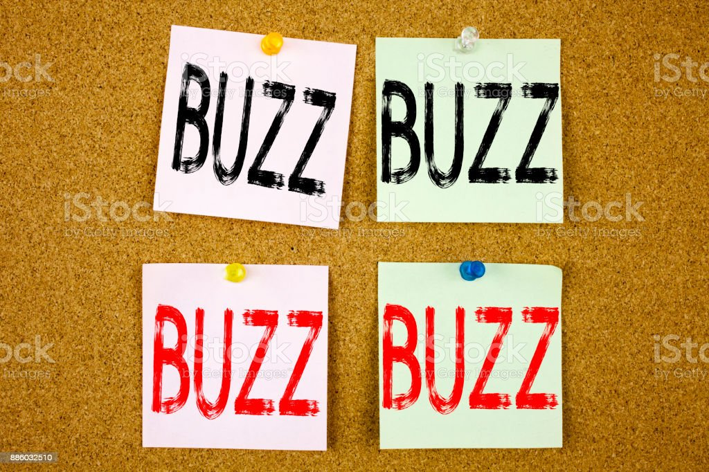 Conceptual hand writing text caption inspiration showing Buzz Business concept for Buzz Word llustration on the colourful Sticky Note close-up stock photo