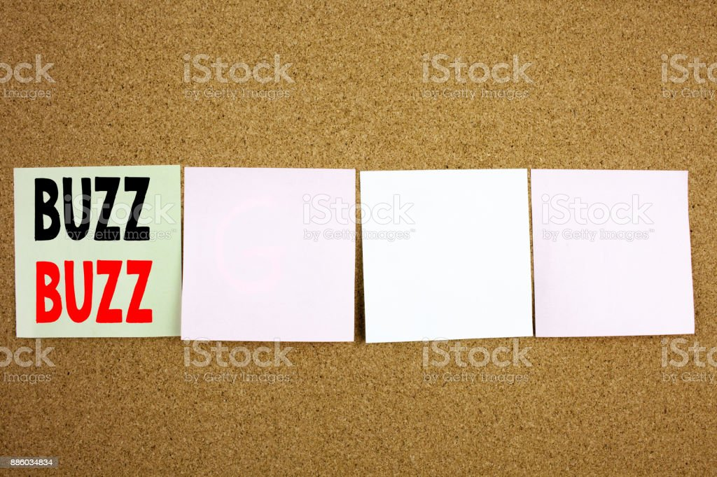 Conceptual hand writing text caption inspiration showing Buzz Business concept for Buzz Word llustration on the colourful Sticky Note close-up background with copy space stock photo