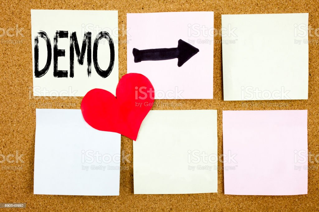 Conceptual hand writing text caption inspiration showing Demo concept for Software Demonstration and Love written on wooden background, reminder  background with copy space stock photo