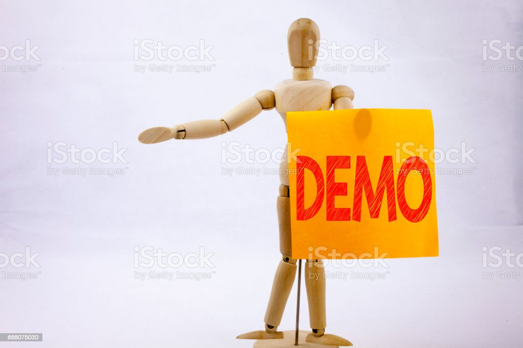 Conceptual hand writing text caption inspiration showing Demo Business concept for Software Demonstration written on sticky note sculpture background with space stock photo