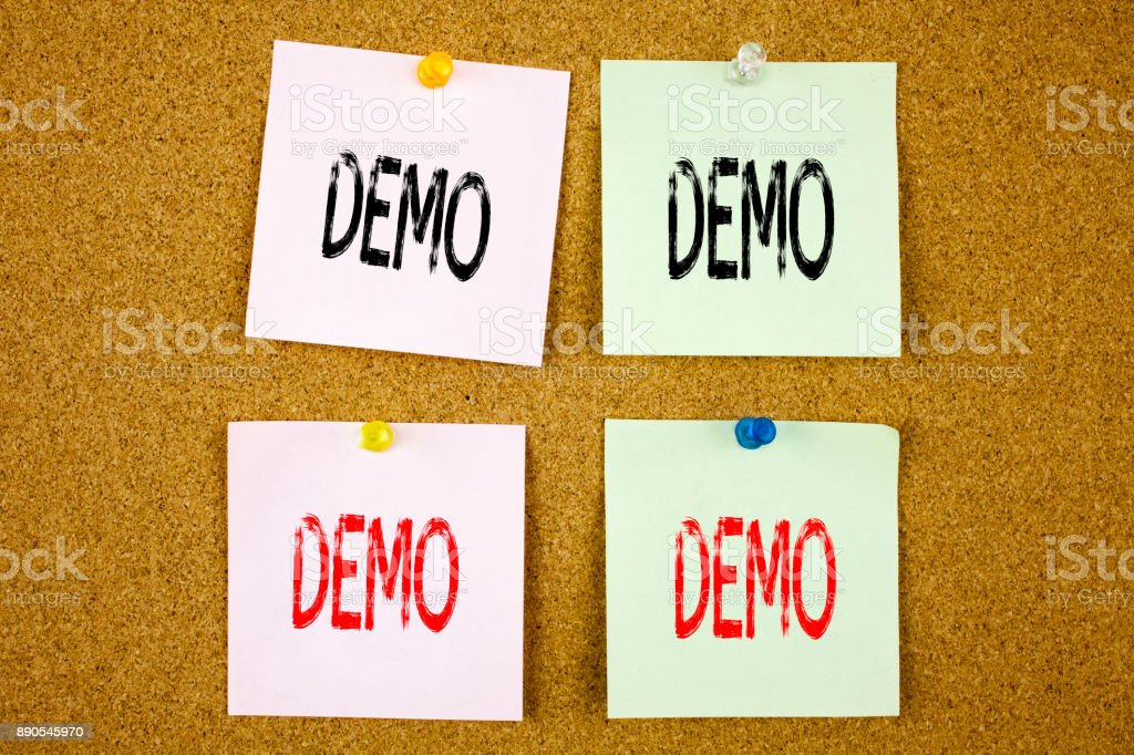 Conceptual hand writing text caption inspiration showing Demo Business concept for Software Demonstration on the colourful Sticky Note close-up stock photo