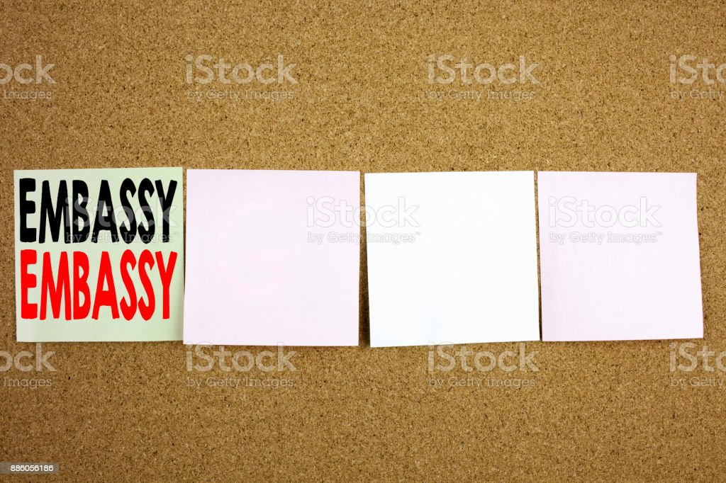 Conceptual hand writing text caption inspiration showing Embassy Business concept for Tourist Visa Application on the colourful Sticky Note close-up background with copy space stock photo