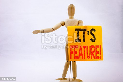 istock Conceptual hand writing text caption inspiration showing Features Business concept for Advertisement Advertising written on sticky note sculpture background with space 887670002