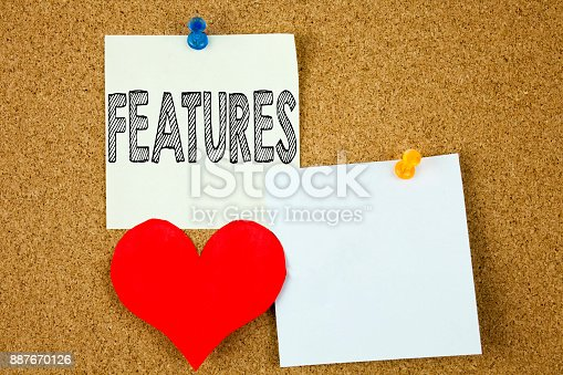 istock Conceptual hand writing text caption inspiration showing Features concept for Advertisement Advertising and Love written on sticky note, reminder cork background with copy space 887670126
